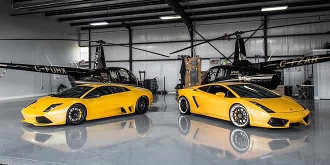 Желтые Lamborghini Murcielago и Gallardo позируют перед вертолетами