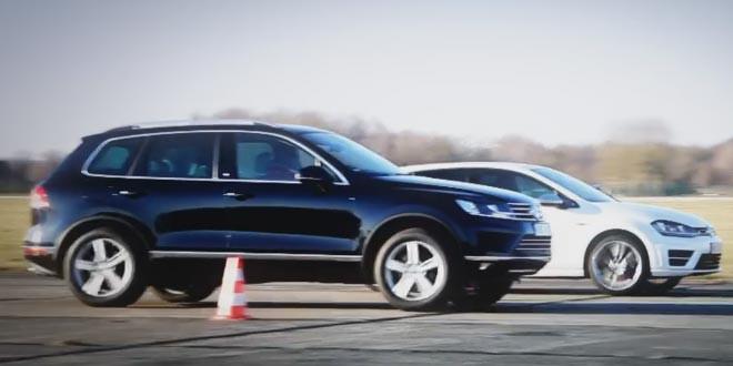 Volkswagen Golf R против Touareg V8 TDI в дрэг-рейсе