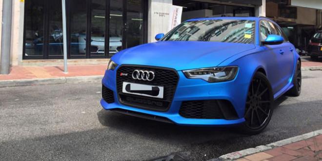 Audi RS6 Avant матового оттенка Blue Aluminum от Impressive Wrap