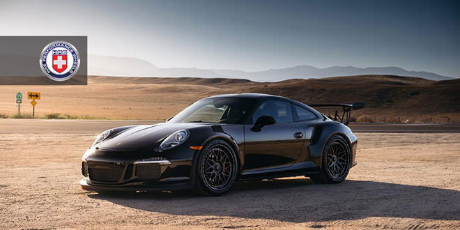 Черный Porsche 911 GT3 RS на дисках HRE Wheels