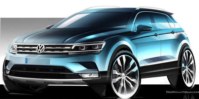 Опубликованы первые официальные скетчи нового Volkswagen Tiguan