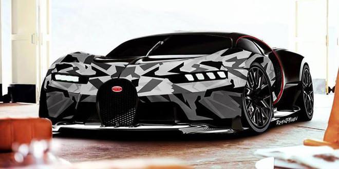 Психоделический рендер Bugatti Chiron от Ryan J Allan Designs