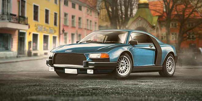 Ретро-дизайн Audi R8 в духе 80-х и Bugatti Chiron из 50-х