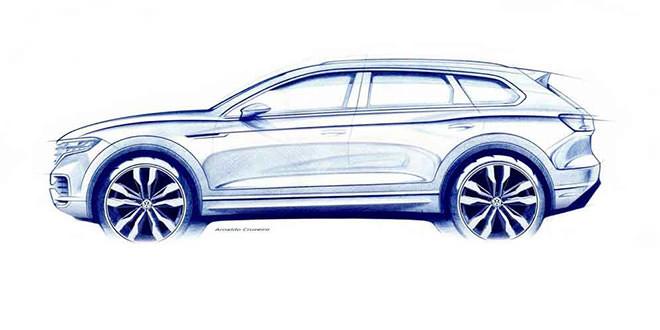 Новый Volkswagen Touareg показали в камуфляже на видео
