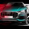Новая Audi Q8 показала гриль радиаторной решетки на тизере