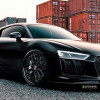 Глобально черная Audi R8 V10 Plus на дисках Strasse