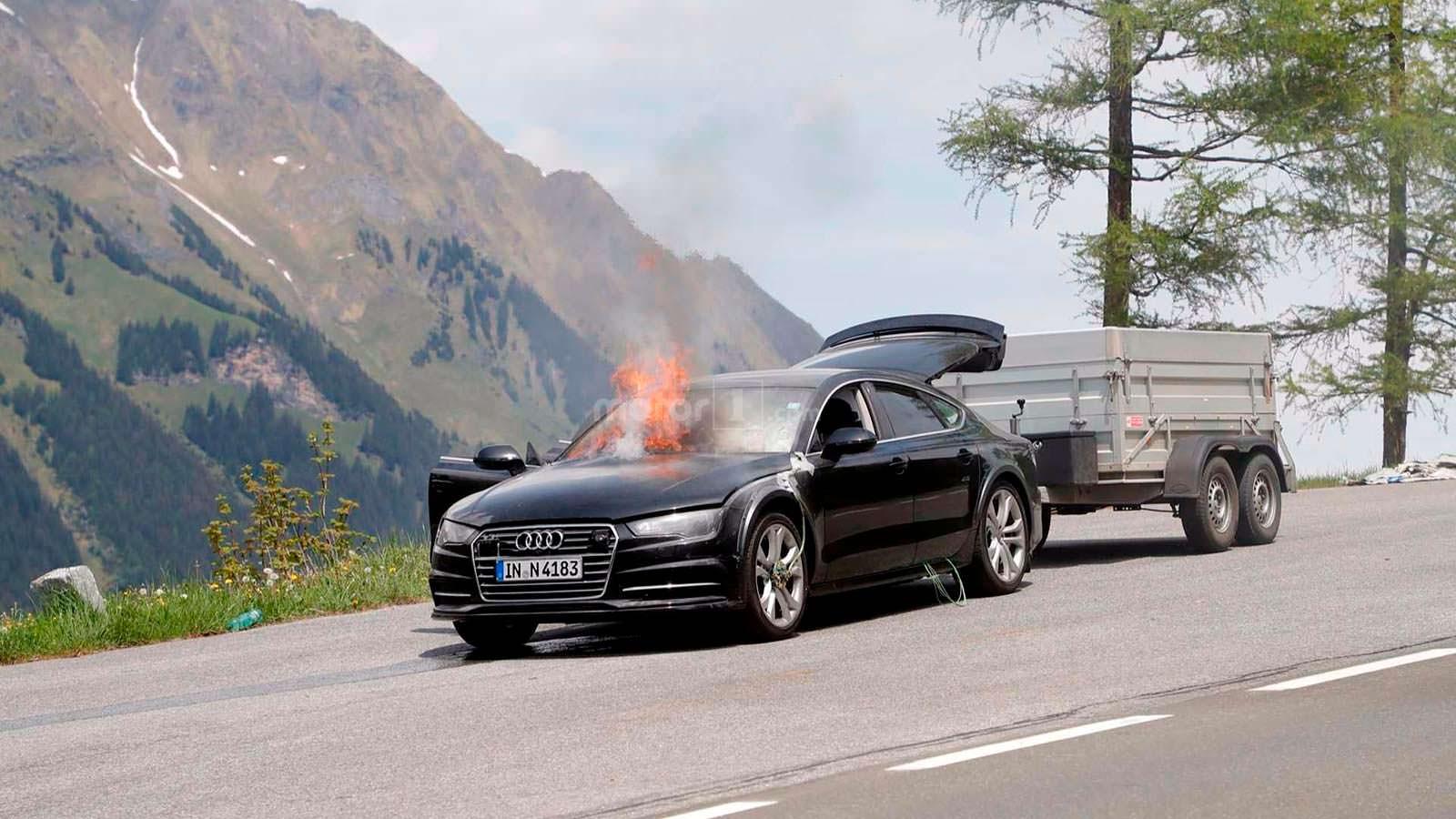Пламя уничтожило прототип Audi A7 Sportback второго поколения