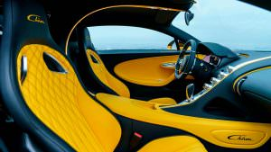 Жёлто-чёрный кожаный салон Bugatti Chiron