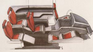 Рисунок салона Lamborghini Genesis от Bertone. 1988 год