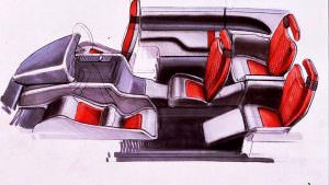 Наброски салона Lamborghini Genesis от Bertone. 1988 год