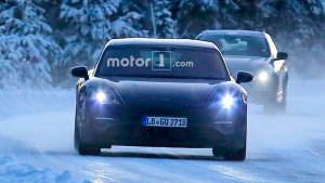 Зимние испытания электрокара Porsche Mission E