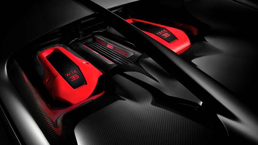 Двигатель W16 на 8 литров в Bugatti Chiron Sport