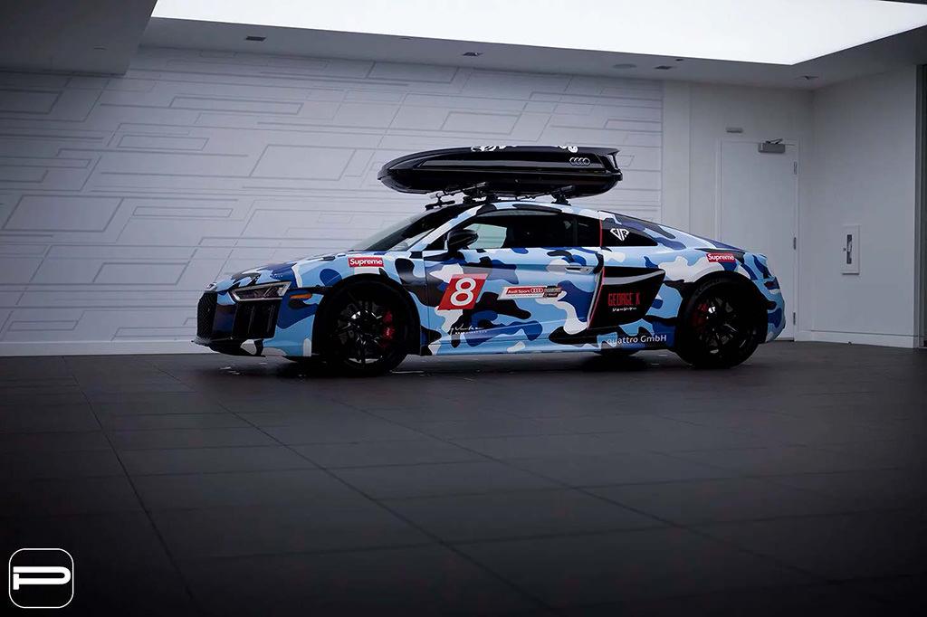 Audi R8 в камуфляж-виниле на дисках PUR Wheels FL26