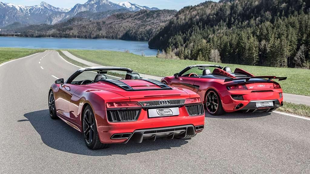 Красные Audi R8 Spyder V10 RWS и Audi R8 Spyder V10 GT S