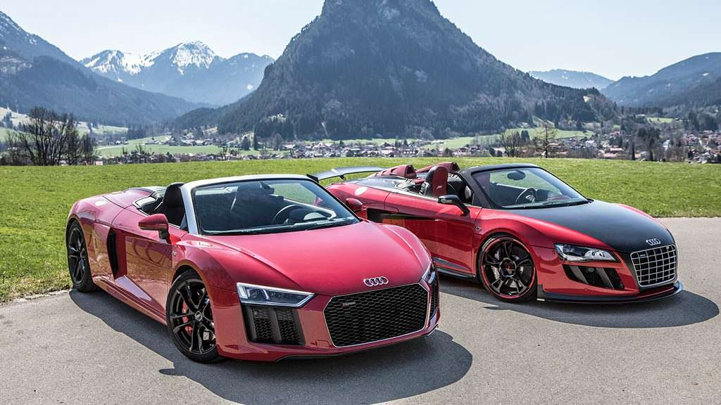 Красные суперкары Audi R8 Spyder V10 RWS и Audi R8 Spyder V10 GT S