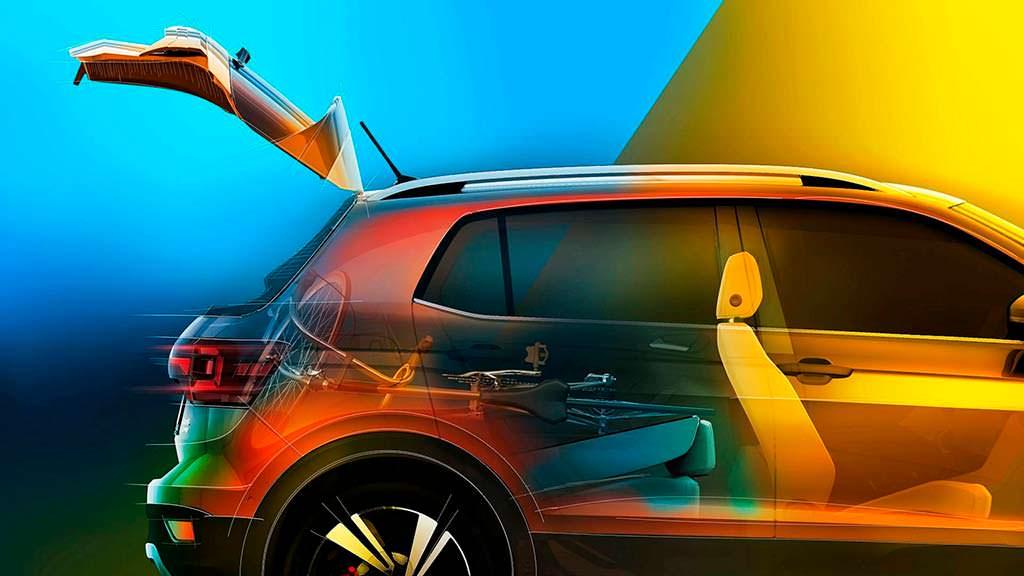 В багажник VW T-Cross поместится велосипед