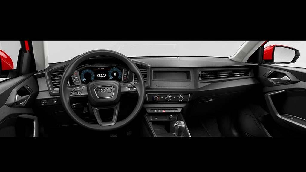 Базовая Audi A1. Салон без радио и аудиоподготовки