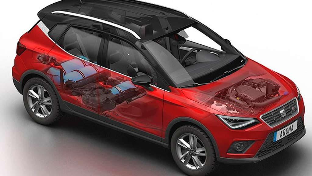 Три баллона для газа CNG под полом багажника SEAT Arona TGI
