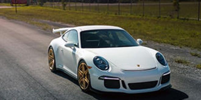 Porsche 991 GT3 на золотистых дисках HRE Wheels