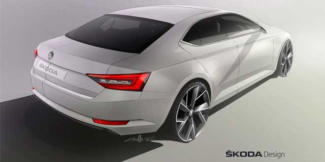 Skoda рассекретила дизайн задней части кузова Superb