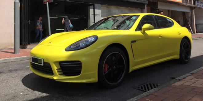 Porsche Panamera GTS в желтом виниле от Impressive Wrap