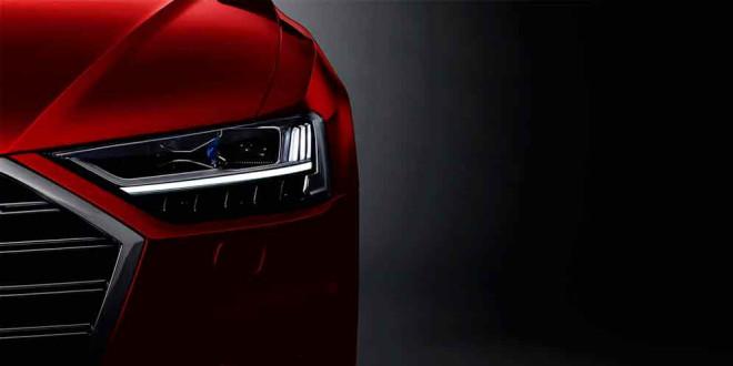 Официальный тизер фар Audi A8 четвертого поколения