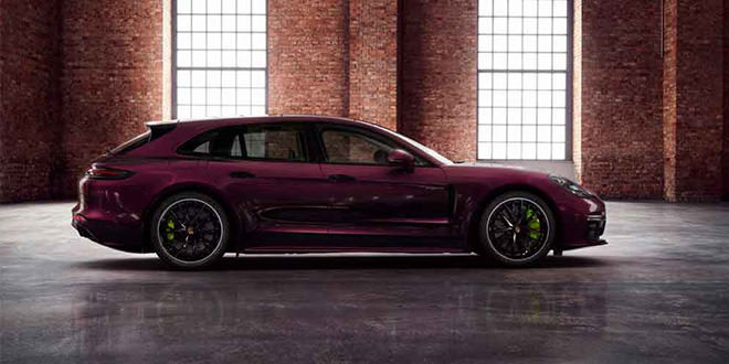 Фиолетовый универсал Porsche Panamera Turbo S E-Hybrid