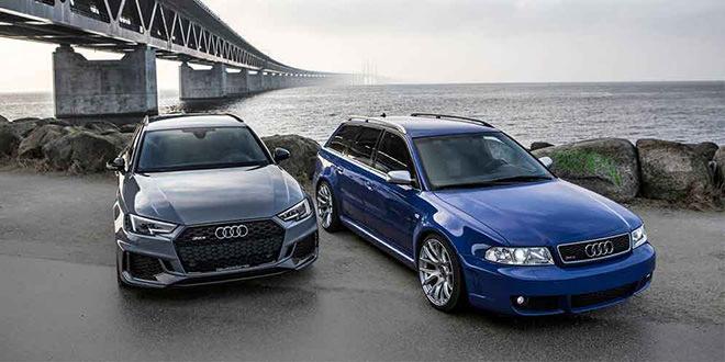 Путь эволюции Audi RS4 Avant B5 в Audi RS4 Avant B9 на фото