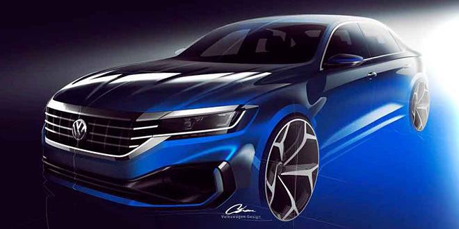 Новый Volkswagen Passat 2020 на официальных скетчах