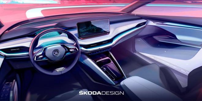 Электро-кроссовер Skoda Enyaq iV приоткрыл дизайн интерьера