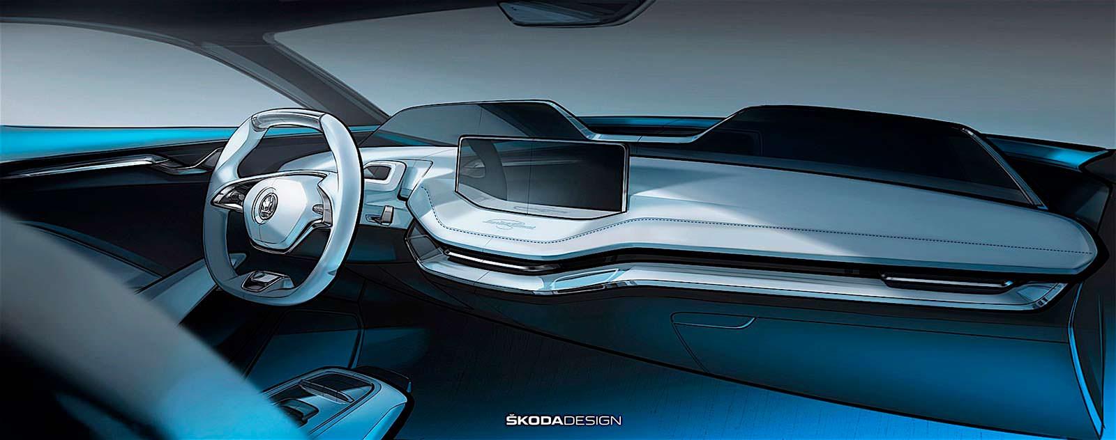 Фото   Салон Skoda VisionE с цифровыми экранами