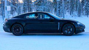 Электрокар Porsche Mission E на зимних испытаниях