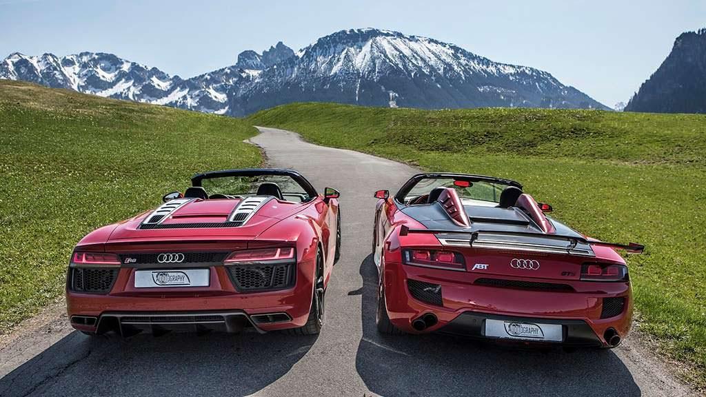 Фотографии Audi R8 Spyder двух поколений в Альпах